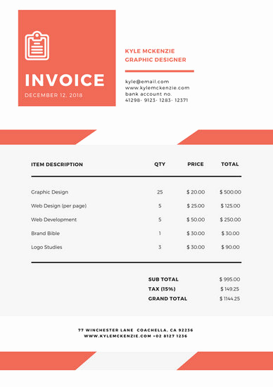Graphic Design Invoice Template Free Luxury Customize 203 Invoice Templates Online Canva