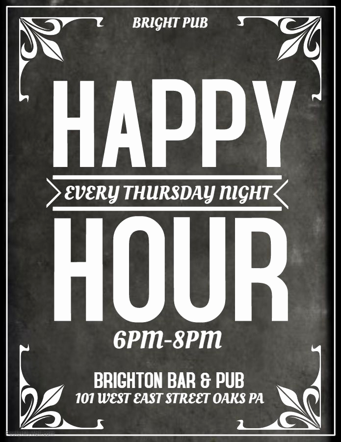 Happy Hour Menu Template Beautiful Grey Bar Flyer Template Happy Hour Thursday