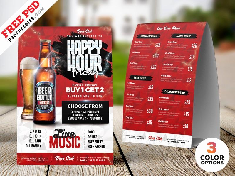 Happy Hour Menu Template Beautiful Happy Hour Tent Card Menu Psd Template Download Psd
