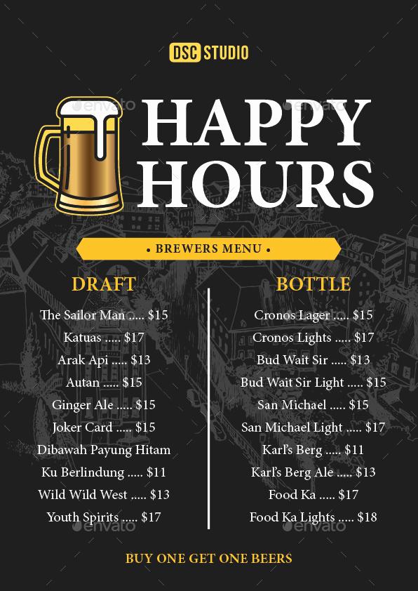 Happy Hour Menu Template Elegant Happy Hours Flyer by Dsc Studio