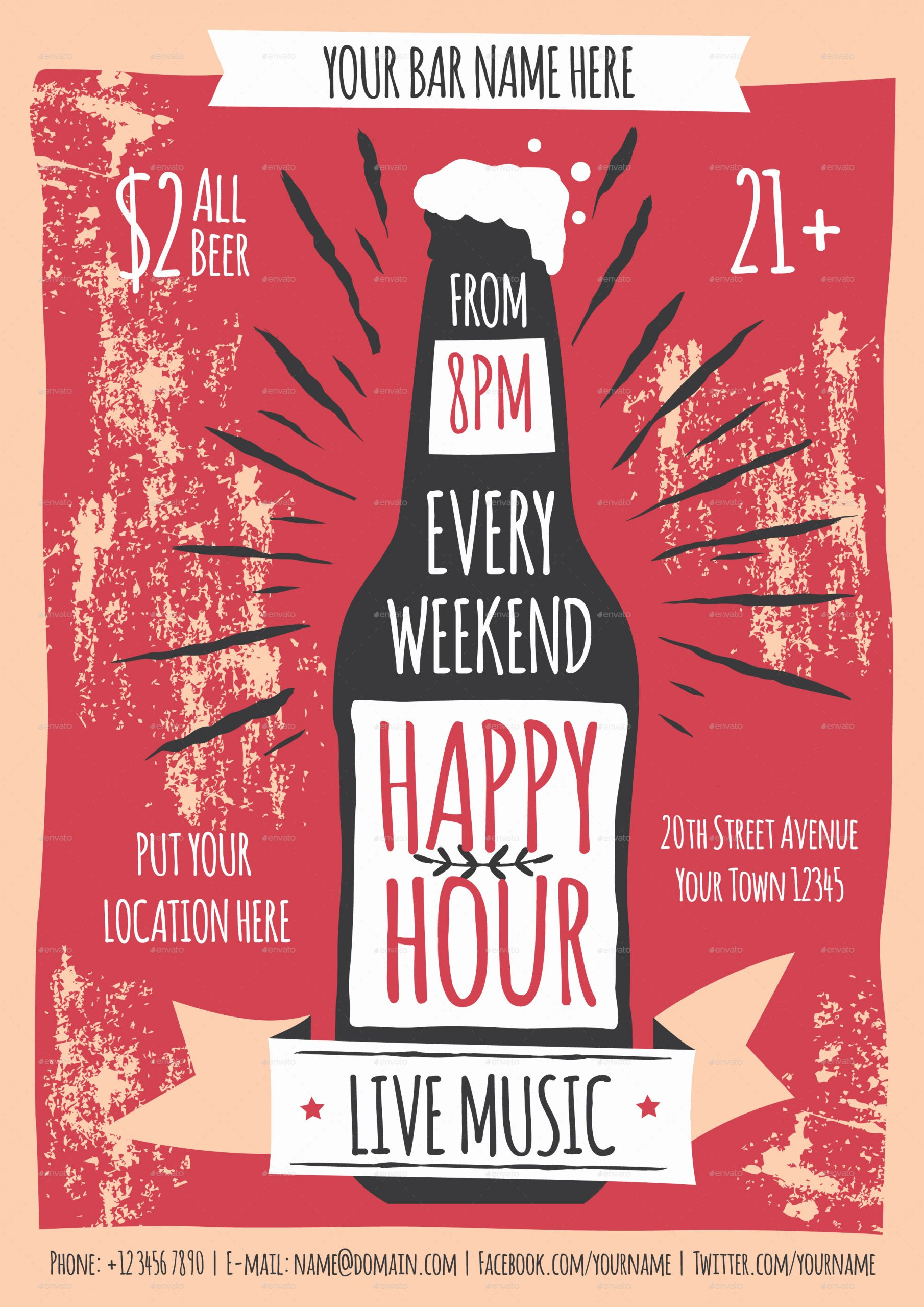 Happy Hour Menu Template Inspirational Happy Hour Flyer Template by Me55enjah