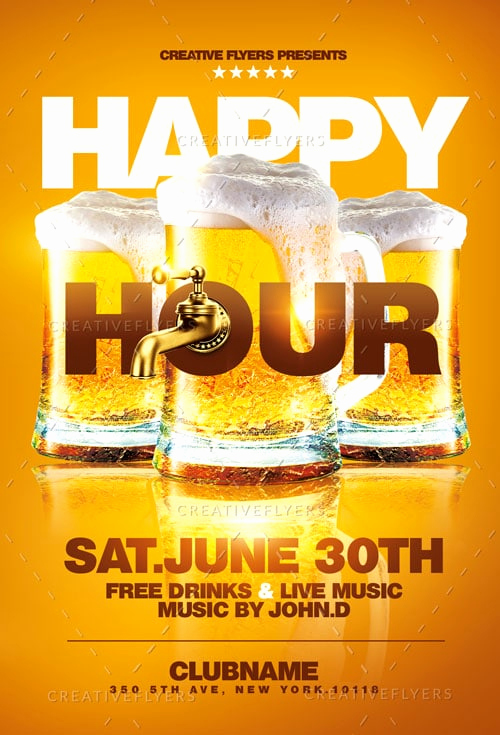 Happy Hour Menu Template Inspirational Happy Hour Flyer Template