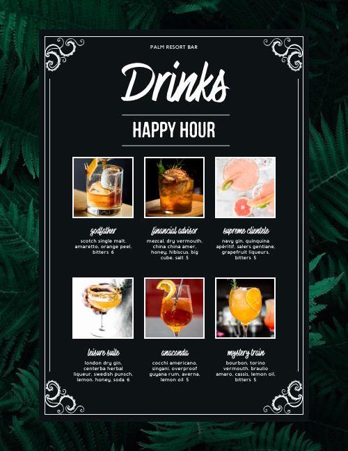 Happy Hour Menu Template New Happy Hour Drinks Menu