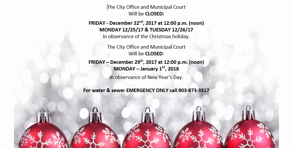 christmas holiday closure notice