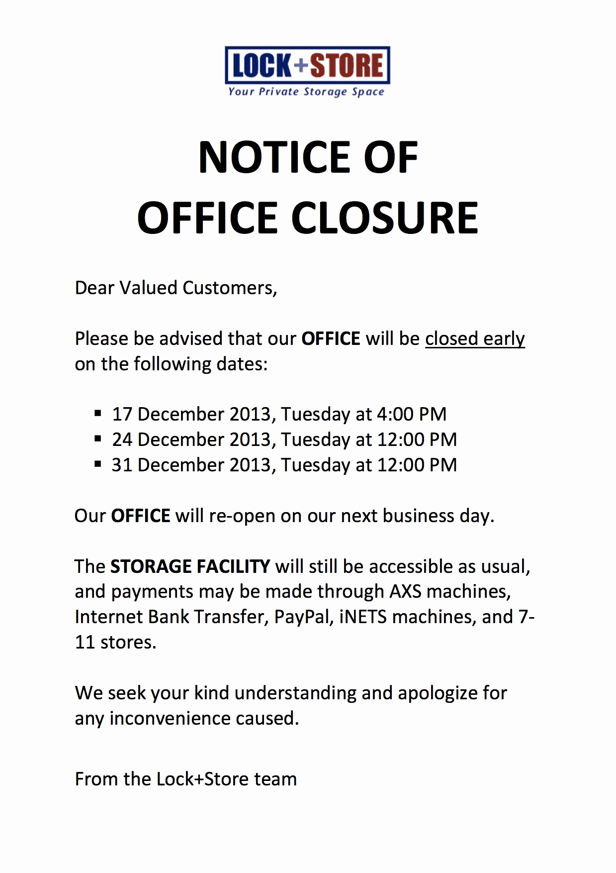 Holiday Closing Notice Template Best Of Lockandstore Lock Store