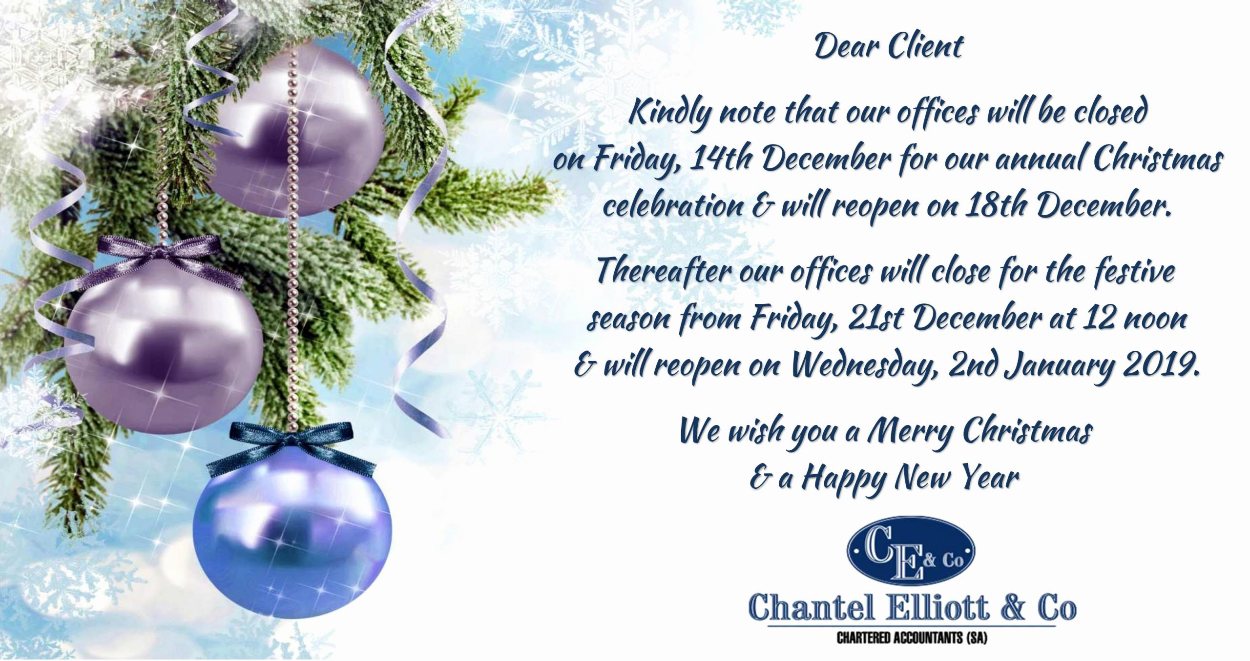 Holiday Closing Notice Template Fresh Chantel Elliott