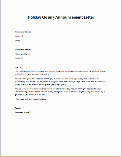 Holiday Closing Notice Template Fresh formal Ficial and Professional Letter Templates Part 11