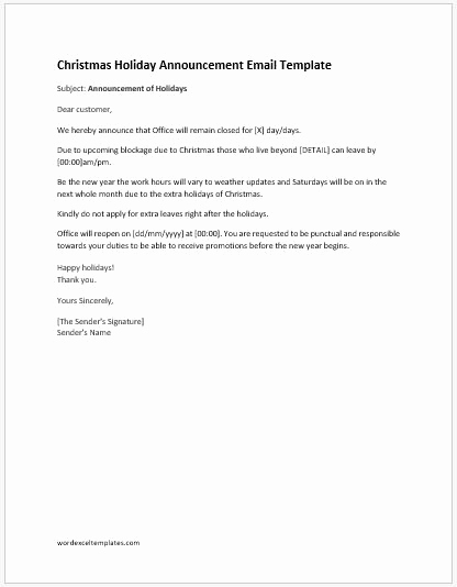 Holiday Closing Notice Template Fresh Holiday Announcement Letters Ms Word format