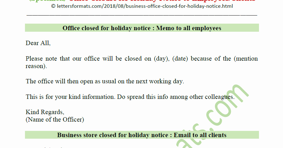 Holiday Closing Notice Template Fresh Notice Of Fice Closure for Holiday for whole Day Early