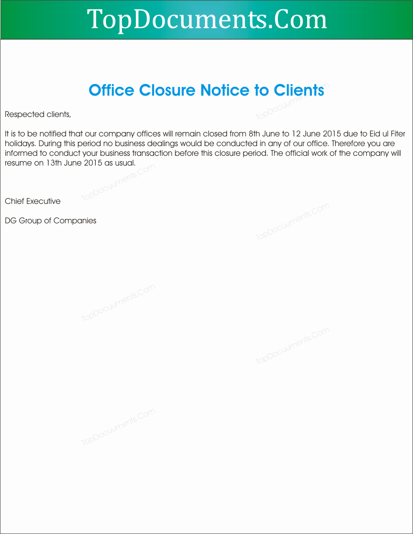 Holiday Closing Notice Template Inspirational Fice Closed Notifications to Clients