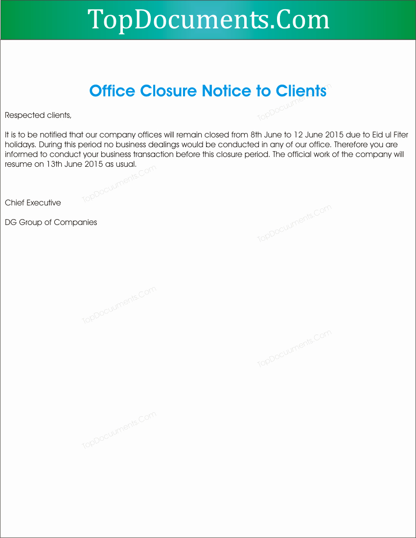 Holiday Closing Notice Template Lovely Fice Closed Notifications to Clients