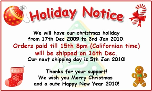 Holiday Closing Notice Template Luxury Holiday Notice