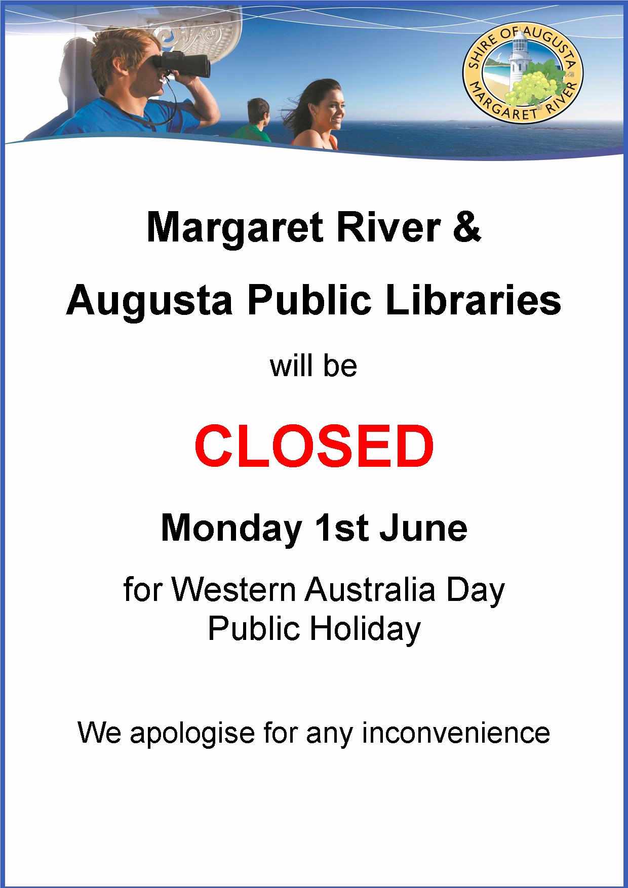 Holiday Closing Notice Template New Wa Day Public Holiday