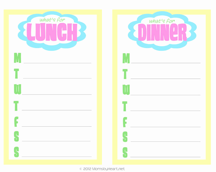 Home Dinner Menu Template Awesome Exclusive Free Home Management Printable Weekly Menu