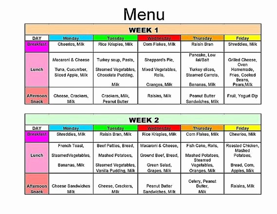 Home Dinner Menu Template Awesome Nutritional Menu Next to Mom Daycare Centre with Images