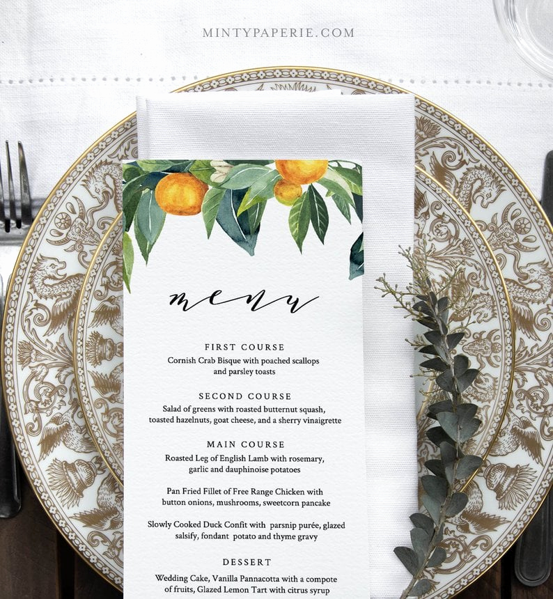 Home Dinner Menu Template Luxury Citrus Menu Template