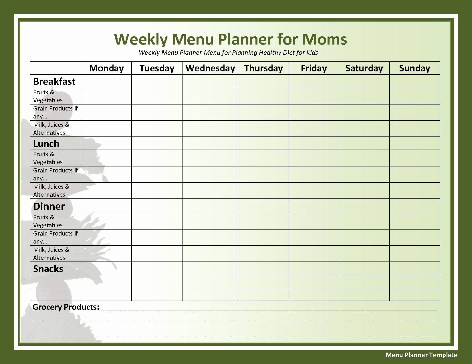 Home Dinner Menu Template New Weekly Menu Template