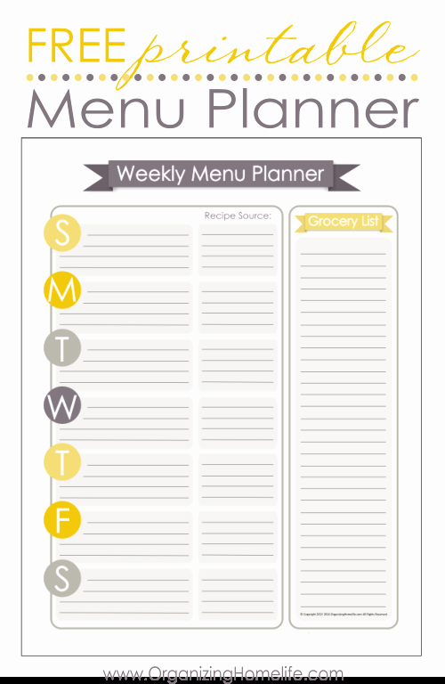 Home Dinner Menu Template Unique Free Menu Planning Printable organize Your Kitchen
