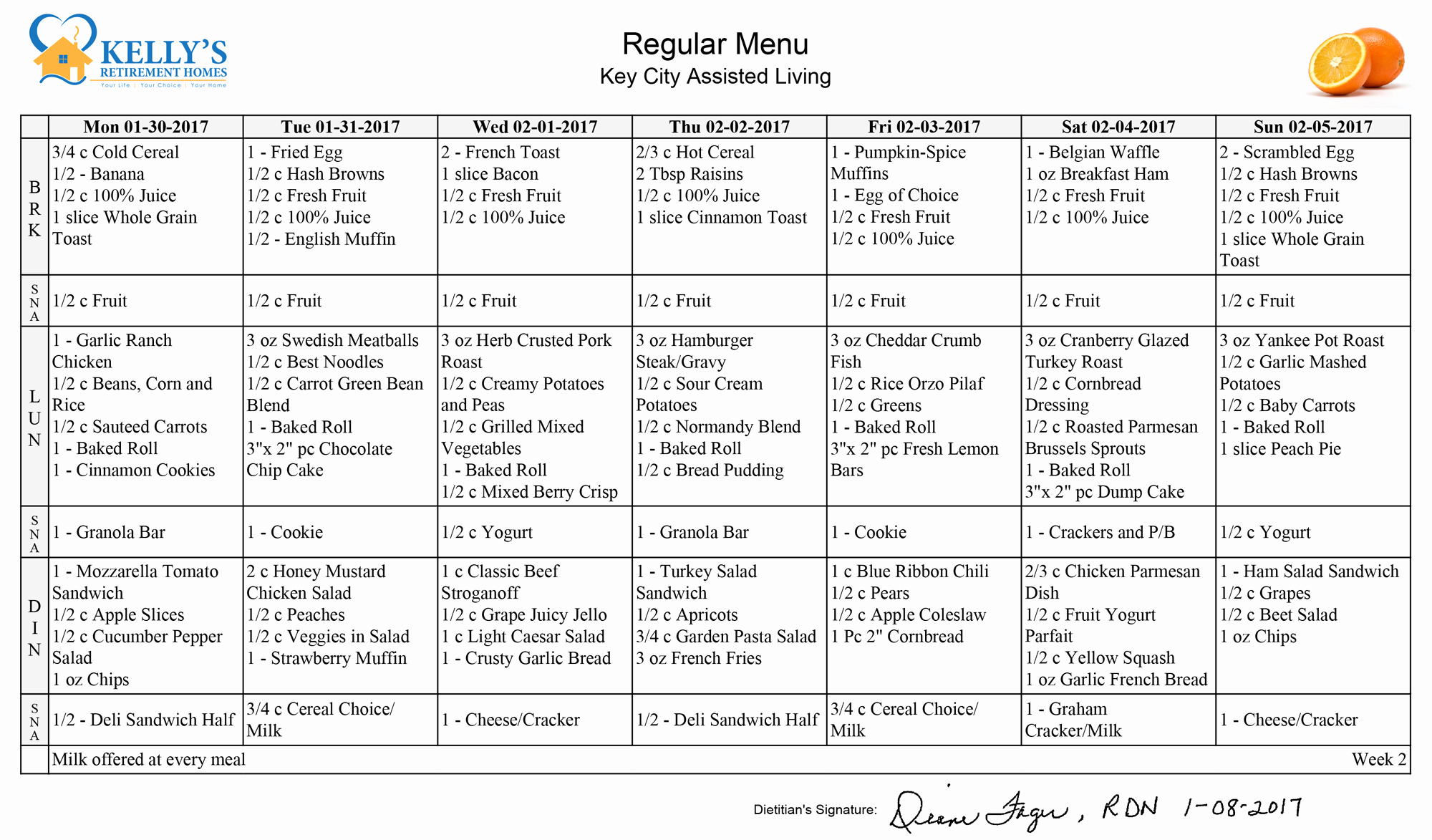 Home Dinner Menu Template Unique Meals Kelly S Retirement Homes