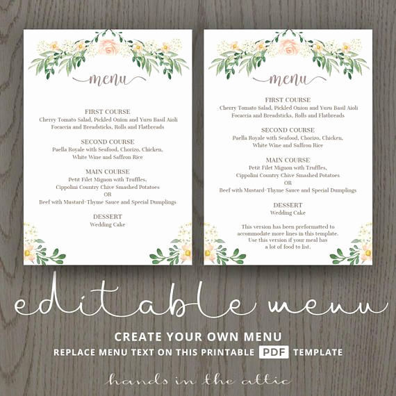 Home Dinner Menu Template Unique Rustic Wedding Menu Rehearsal Dinner Menu Template Sit