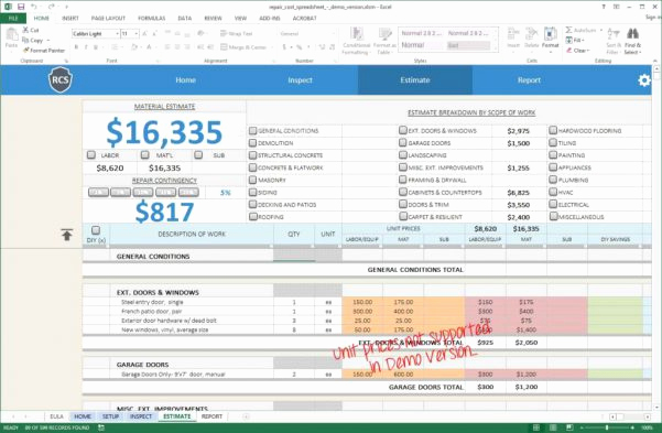 Home Remodel Budget Template Awesome Renovation Spreadsheet Template Spreadsheet Templates for