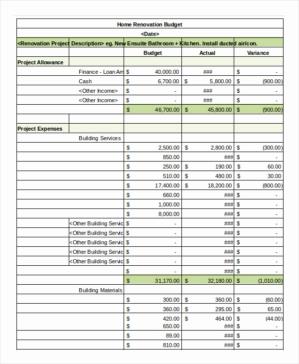 Home Remodel Budget Template Beautiful Simple Bud Spreadsheet Template 13 Freeword Excel