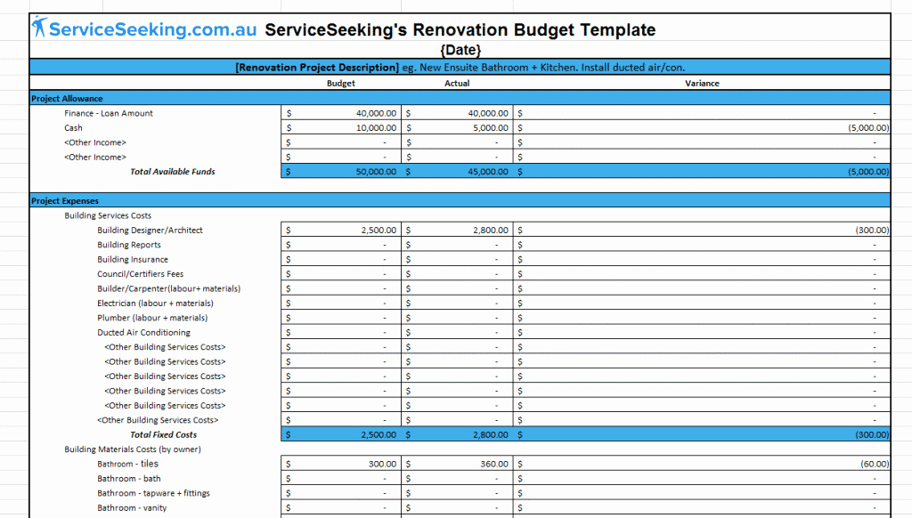 Home Remodel Budget Template Luxury Renovation Bud Template
