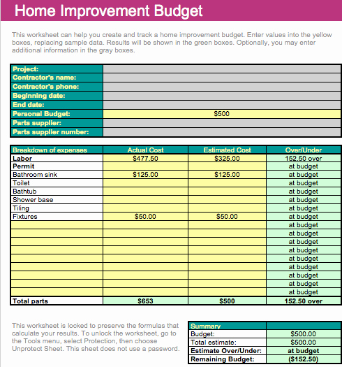 Home Renovation Budget Template Beautiful Home Improvement Bud Template for Numbers Free Iwork