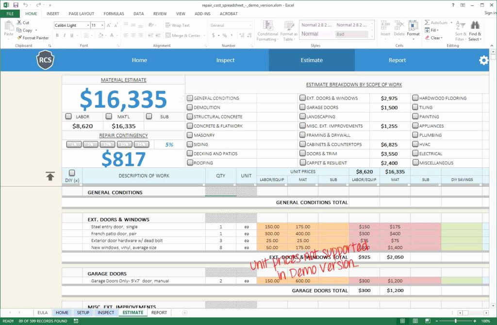 Home Renovation Budget Template Best Of Renovation Spreadsheet Template Spreadsheet Templates for