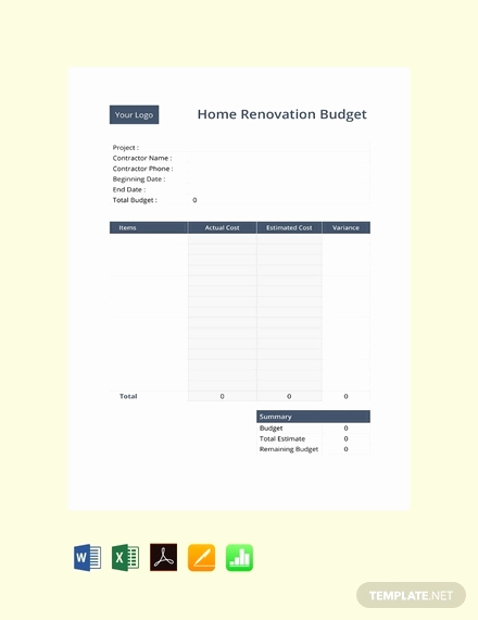 Home Renovation Budget Template Fresh 15 Sample Renovation Bud Templates Pdf Docs