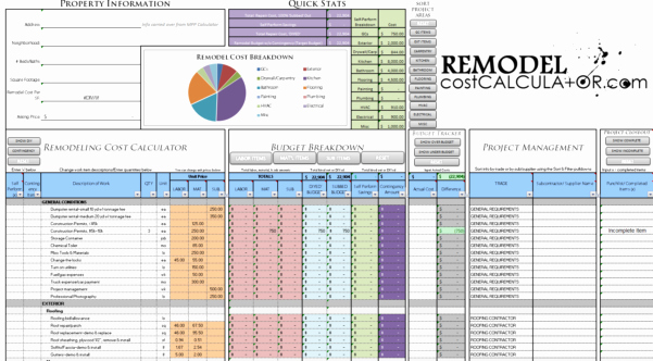 Home Renovation Budget Template New Renovation Spreadsheet Home Renovation Bud Spreadsheet