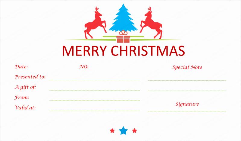Homemade Gift Certificate Template Inspirational Prancing Reindeer Christmas Gift Certificate Template