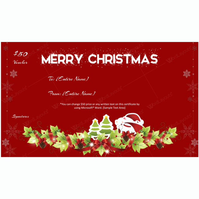 Homemade Gift Certificate Template Lovely Christmas Gift Certificate Template 08