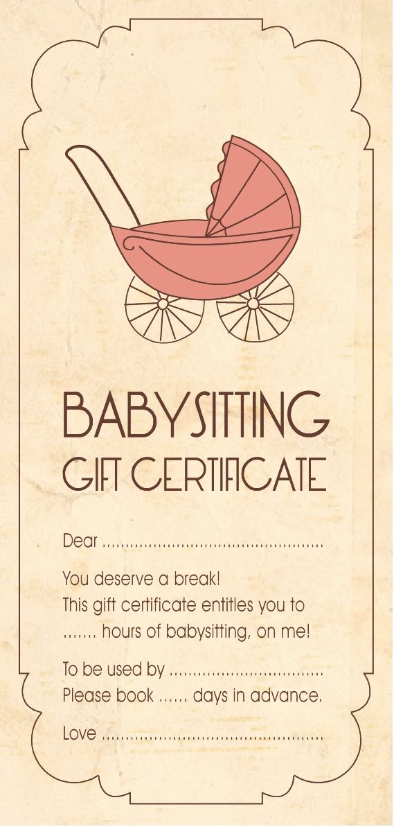 Homemade Gift Certificate Template Luxury Christmas Cheer Gift Idea Babysitting Aloha organizers