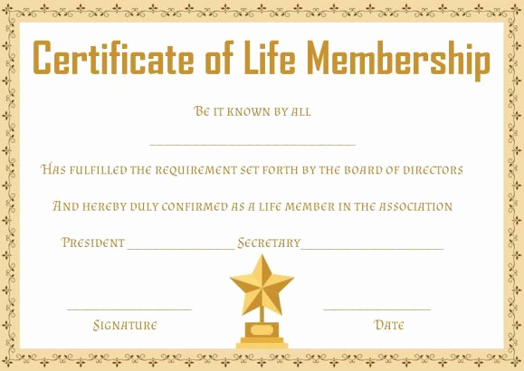 Honorary Member Certificate Template Best Of Free Life Membership Certificate Templates