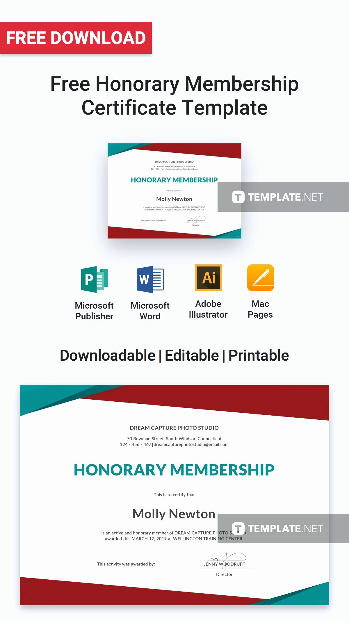 Honorary Member Certificate Template Inspirational Honorary Member Certificate Template Free