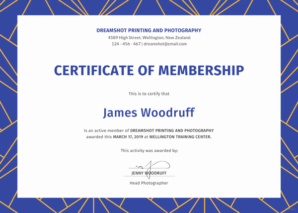 Honorary Member Certificate Template Lovely 23 Membership Certificate Templates Word Psd In