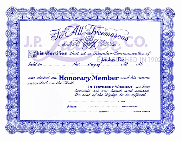 Honorary Member Certificate Template Lovely Free Honorary Masonic Membership Certificate Fossil Bluff