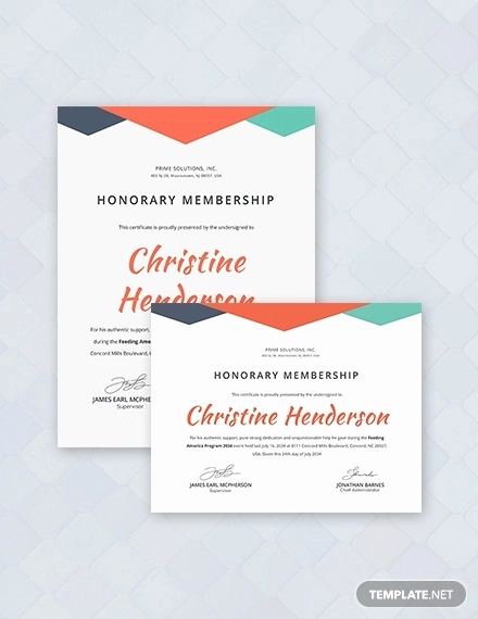 Honorary Member Certificate Template Luxury Certificate Of Honorary Template 8 Word Psd Ai format