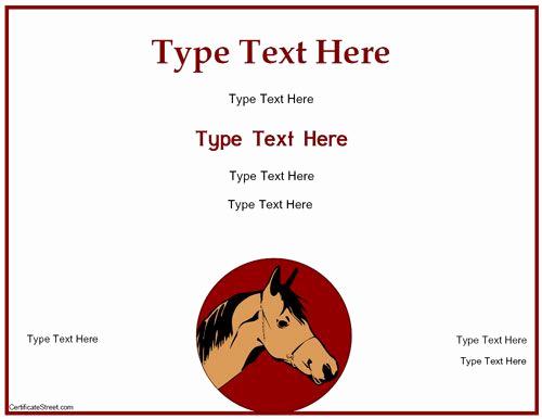 Horseback Riding Gift Certificate Template Elegant Blank Certificate Free Horse Riding Certificate