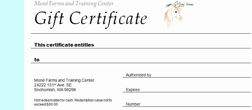 Horseback Riding Gift Certificate Template Luxury Mone Farms and Training Center Riding Lessons
