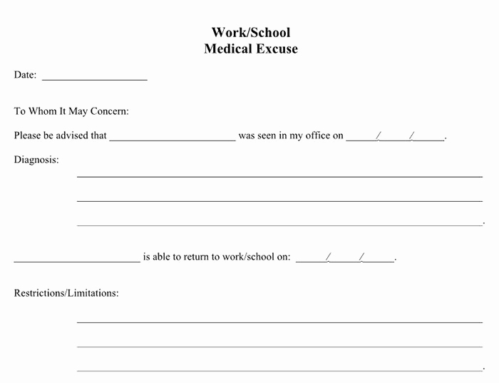 free printable doctors notes for work