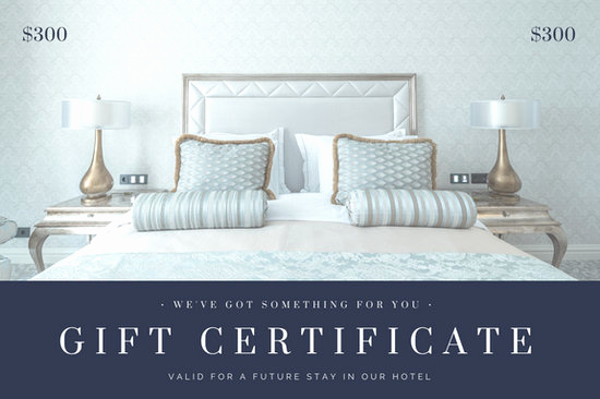 Hotel Gift Certificate Template Luxury Blue Gray Bedroom Hotel Gift Certificate Templates