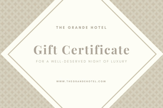 Hotel Gift Certificate Template Luxury Brown Pattern with Diamond Hotel Gift Certificate