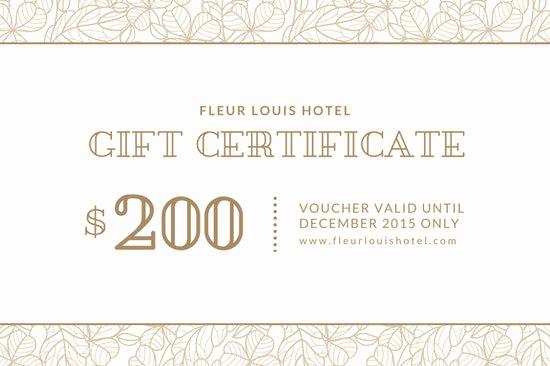 Hotel Gift Certificate Template Unique Customize 2 645 Gift Certificate Templates Online Canva