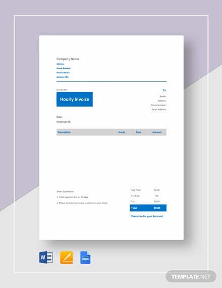 Hourly Invoice Template Excel Lovely Hourly Invoice Template 8 Free Word Excel Pdf format