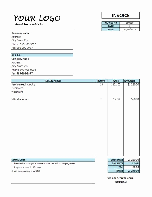 Hourly Invoice Template Excel Luxury Hourly Invoice Template Hourly Rate Invoice Templates Free