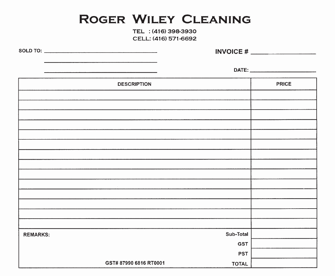 House Cleaning Invoice Template Beautiful Dry Cleaners Invoice Clover Printing & Labels