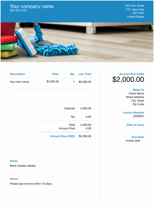 House Cleaning Invoice Template Beautiful Free House Cleaning Invoice Template Download now