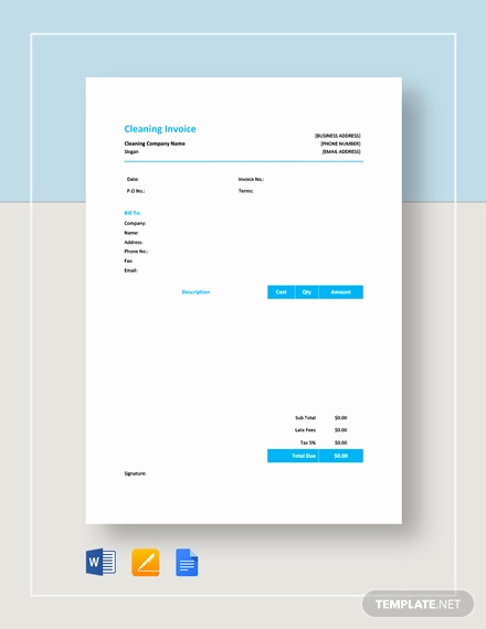 House Cleaning Invoice Template Unique Cleaning Invoice Template 9 Free Word Pdf Documents